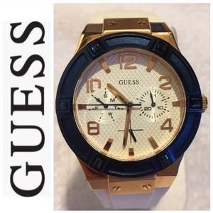 Guess Blue, gold, and white Watch